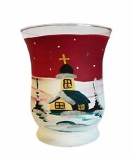 candle in glass with Winter landscape Hand-painted Glass Tea Light Cup 9 cm