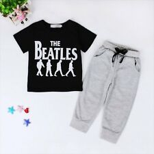 2PCS NEW Kids Baby Boys Short Sleeve T-shirt Tops+Pants Trousers Outfits 1-6Y