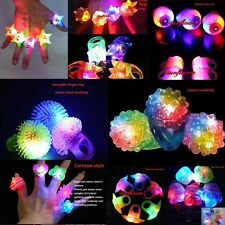 20 pcs  LED Flashing Light Ring Blinking Party Soft Rave Glow Jelly Finger Rings