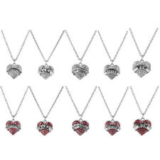 Family Crystal Rhinestone Love Heart Pendant Choker Chain Necklace Charm Jewelry