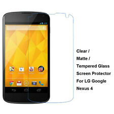 New Tempered Glass / Clear / Matte Film Screen Protector For LG Google Nexus 4