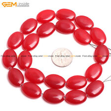 """Oval Smooth Red Jade Jewelry Making Gemstone Loose Beads Strand 15"""", Size Pick"""