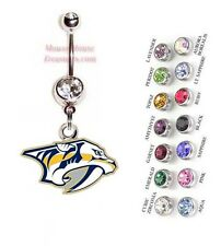 NHL NASHVILLE PREDATORS AUTHENTIC LOGO CHARM DANGLE NAVEL BELLY RING! NRNHL-111
