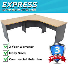 Express Corner Desk Office Workstation - Beech/Ironstone