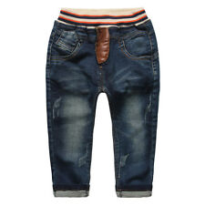 Kids Boys Toddlers 100% Cotton Trousers Leather Letters Denim Jeans Pants P1185