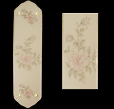 Cream Porcelain Ceramic Door Finger Push Plates Contessa Floral Design