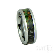 Camo Hunting Brown/Green Camouflage 8mm Tungsten Carbide Wedding Band Ring