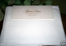 $750 Sferra Crisp Cotton Percale 500TC Queen, King, Cal Kg Sheet Set Solid White