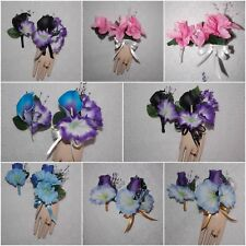 2pc Corsage Boutonniere Set Petunia Many Colors Wrist and Pin on Style Corsages