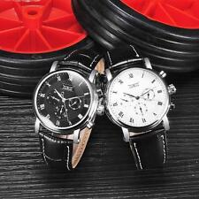 Fashion Mens Automatic Mechanical Watch Leather Calendar Wristwatch Gift CN J5S3