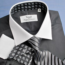 Black Poplin Formal Business Dress Shirt Luxury Contrast Cool White Cuff Design