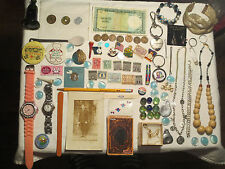 junk drawer lot estate sale old coins jewelry vtg stamps NIXON LODGE button pin
