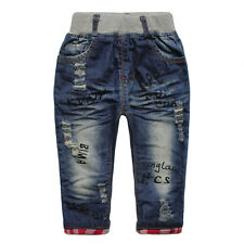 Boys Toddlers 100% Cotton Trousers  Letters Printing Denim Pants Jeans P1128