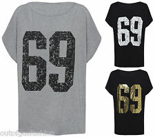 NEW LADIES WOMENS 69 GOLD PRINT SEXY SHINY OVERSIZED LOOK TSHIRT TOP