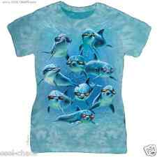 Cool Dolphin T-Shirt Ocean Blue Tie-Dye Tee;Ladies Chillin' Dolphins sunglasses
