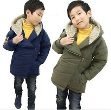 Kids Toddlers Boys Quality Fleece Hoodie Hooded Parka Coat Jacket Outerwear S433
