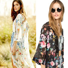 Women Print Jacket Half Sleeve Chiffon Kimono Cardigan Soft Coat Tops Blouse New