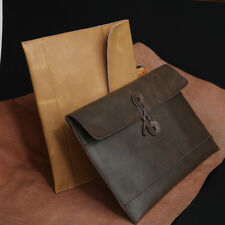 Mens Genuine Leather Envelope Package Briefcase Handbag Tablet Document Case Bag
