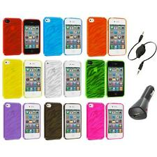 TPU Zebra Color Transparent Rubber Case Cover+Aux+Charger for iPhone 4 4S 4G