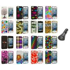 Colorful Design Hard Snap-On Rubberized Case Cover+Car Charger for iPhone 5 5S