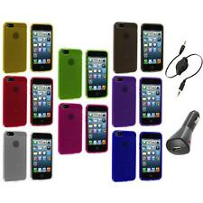 Color Fingerprint Circle TPU Rubber Jelly Case Cover+Aux+Charger for iPhone 5 5S