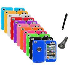 Deluxe Hybrid Case Cover+Protector+Charger+Pen for iPod Touch 4th Gen 4G 4