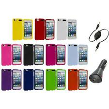 Color Snap-On Hard Rubberized Case Cover+Aux+Charger for iPod Touch 5th Gen 5G 5