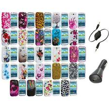 TPU Design Rubber Soft Skin Case Cover+Aux+Charger for Samsung Galaxy S3 S III
