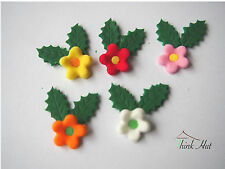 Edible sugar Holly leaves & Flowers - Birthday Cake cupcakes toppers  x45