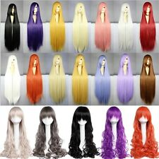 Stylish Long Curly Straight Full Head Wig Cosplay Party Costume Fancy Pink Red K