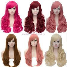 UK Thick Long Straight Curly Full Head Wig Cosplay Party Fancy Dress Hot Sale U9