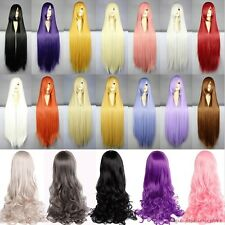 Anime Long Straight Curly Full Head Wig Costume Cosplay Party Orange Halloween K