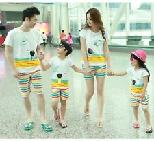 Family clothes New Summer Family Man Woman Girl Boy T shirt + Pants set 1sets