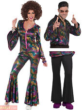 Ladies Mens 1970s Disco Fancy Dress Jumpsuit Shirt Psychedlic Costume Womens