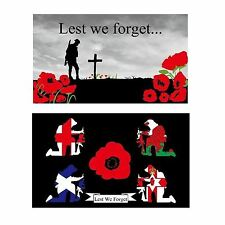 LARGE 5 X 3 FT POPPY REMEMBRANCE DAY ARMED FORCES WW1 WW2 WORLD WAR FLAG BANNER