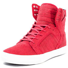 Supra Skytop Mens Leather Red White Trainers New Shoes All Sizes