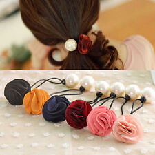 2Pcs Lady Fashion Pearl Rose Flower Hair Band Rope Scrunchie Ponytail Holder Lot