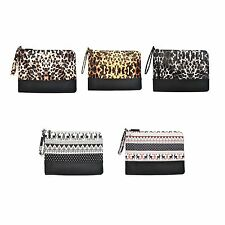 Wristlet Clutch Bag Handbag Purse Faux Leather Knit Fashion Leopard Scandinavian