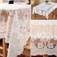 Luxury White Square Lace Tablecloth IN HAND Floral Rose Cover Dining Table