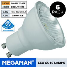 6 X MEGAMAN 3.6W OR 5W GU10 LED LAMPS MAINS DIMMABLE OR NON DIMMABLE COOL / WARM