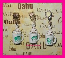 STARBUCKS Silver Plated Clip Europe Lobster Coffee Hot Coco Cup Bracelet US MADE