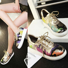 Womens Fashion PU Leather Lace Up Camo Flats Pumps Casual Shoes New Plus Size