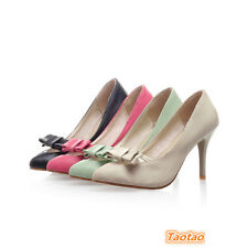 Womens Shallow Wedge Think High Heels Pumps Bowknot Sexy Shoes AU All Size TD445