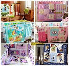 Baby Boy Girl 2 Pieces Crib Cot  Set Embroidered Quilt Comforter + Fitted Sheet