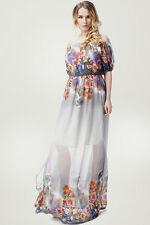 Lady Long Maxi Formal Summer Beach Print Evening Cocktail Party Plus Size dress