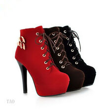 Women's High Heel metal button Lace Ups Ankle Classics Boots AU All Size TB359