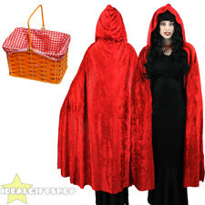ADULTS RED VELOUR CAPE LITTLE RED RIDING HOOD WITH BASKET FANCY DRESS COSTUME