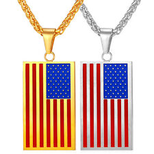 Stainless Steel American flag Design Pendant Necklace 18K Gold Plated Jewelry