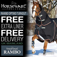 """Horseware Rambo OPTIMO TURNOUT Rug with Hood Combo Liner SYSTEM Black 5'6""""-7'3"""""""