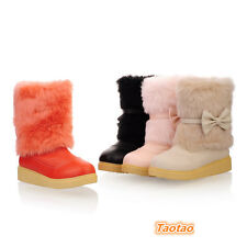 Womens Mid Heel Casual Shoes Sweet Bowknot Ankle Warm Boots AU Size 4-7.5 TB1058